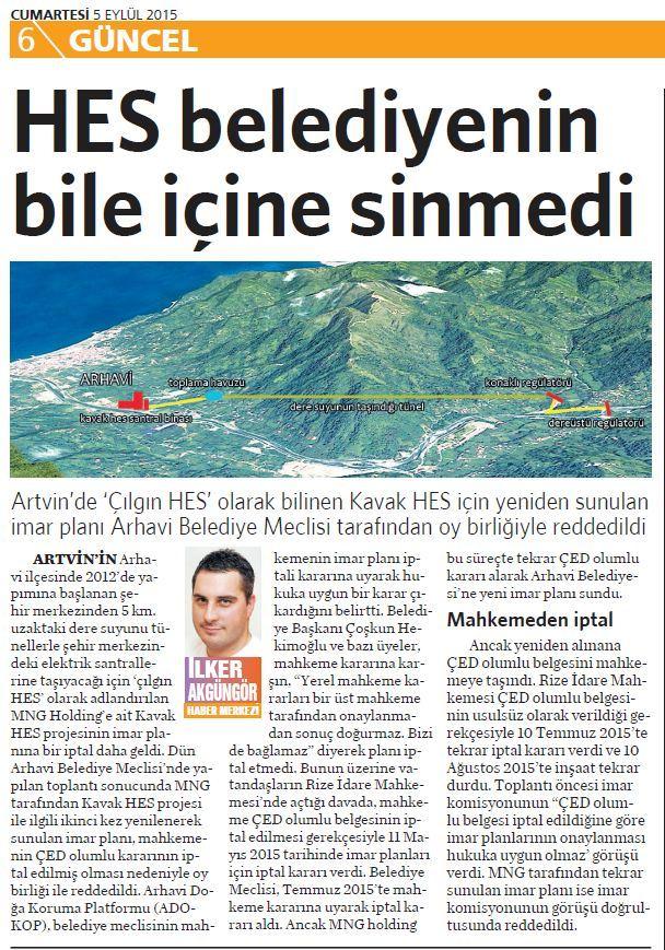 5 Eylül 2015 Vatan Gazetesi 6. sayfa