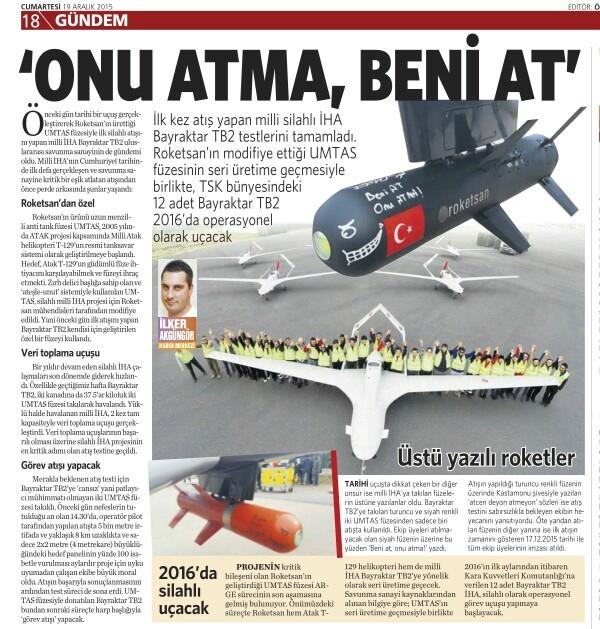 19 Aralık 2015 Vatan Gazetesi 18. sayfa