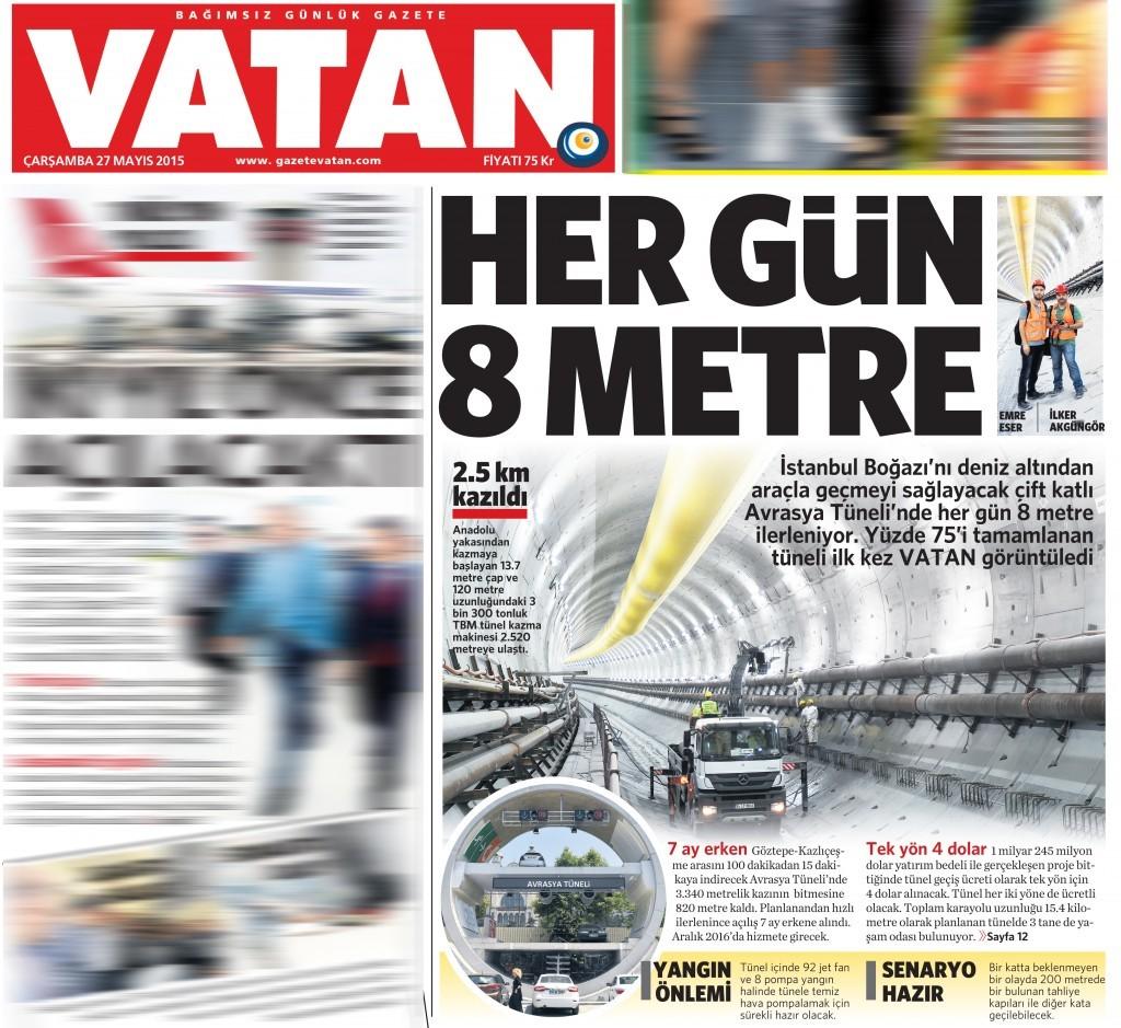 27 Mayıs 2015 Vatan Gazetesi 1. sayfa
