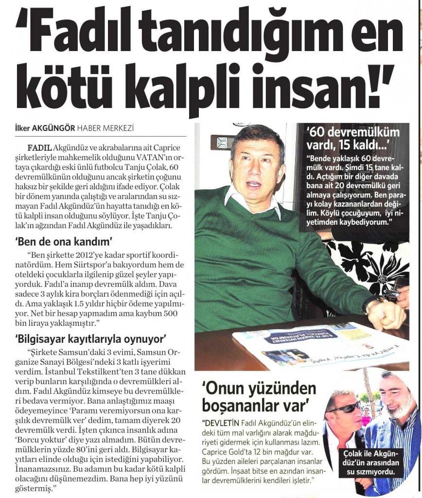 23 Aralık 2014 Vatan Gazetesi 13. sayfa