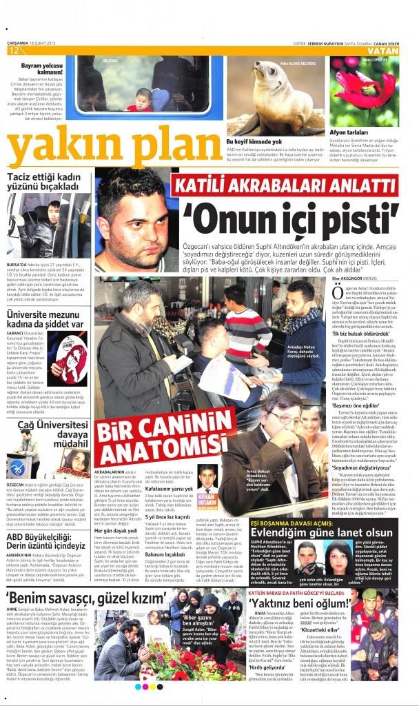 18 Şubat 2015 Vatan Gazetesi 12. sayfa