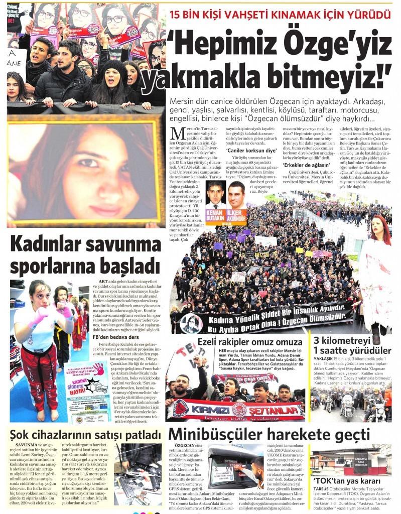 19 Şubat 2015 Vatan Gazetesi 13. sayfa