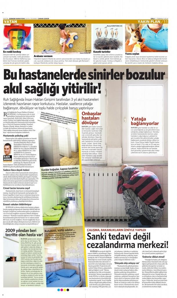 1 Temmuz 2014 - Vatan Gazetesi