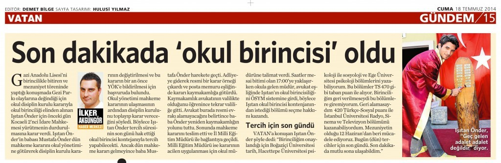 18 Temmuz 2014 - Vatan Gazetesi