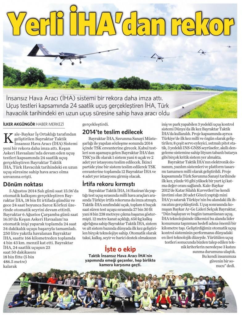 7 Ağustos 2014 - Vatan Gazetesi