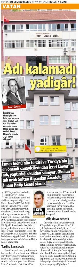 10 Ağustos 2014 - Vatan Gazetesi