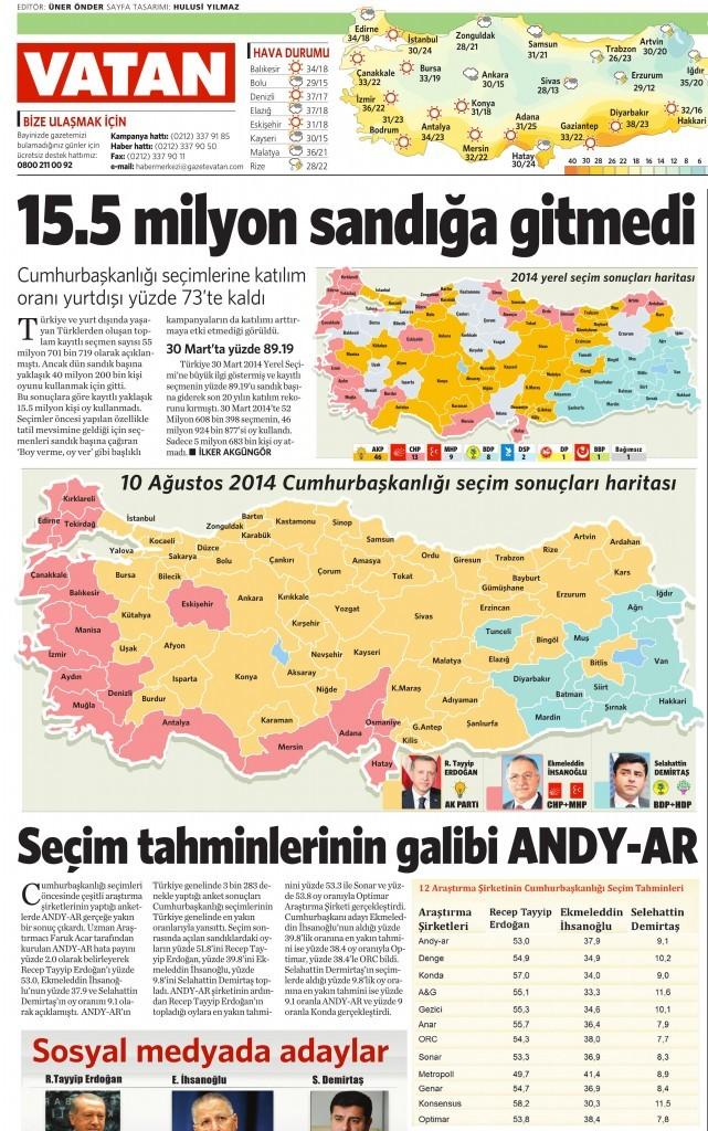 11 Ağustos 2014 - Vatan Gazetesi