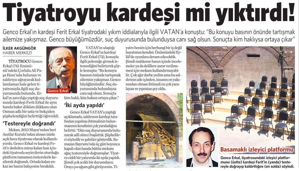 13 Ağustos 2014 - Vatan Gazetesi