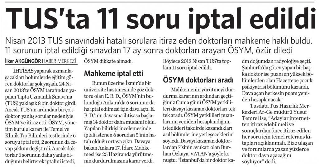 15 Ağustos 2014 - Vatan Gazetesi