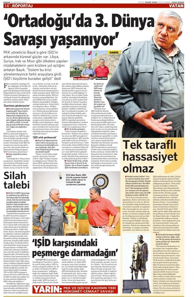 24 Ağustos 2014 - Vatan Gazetesi