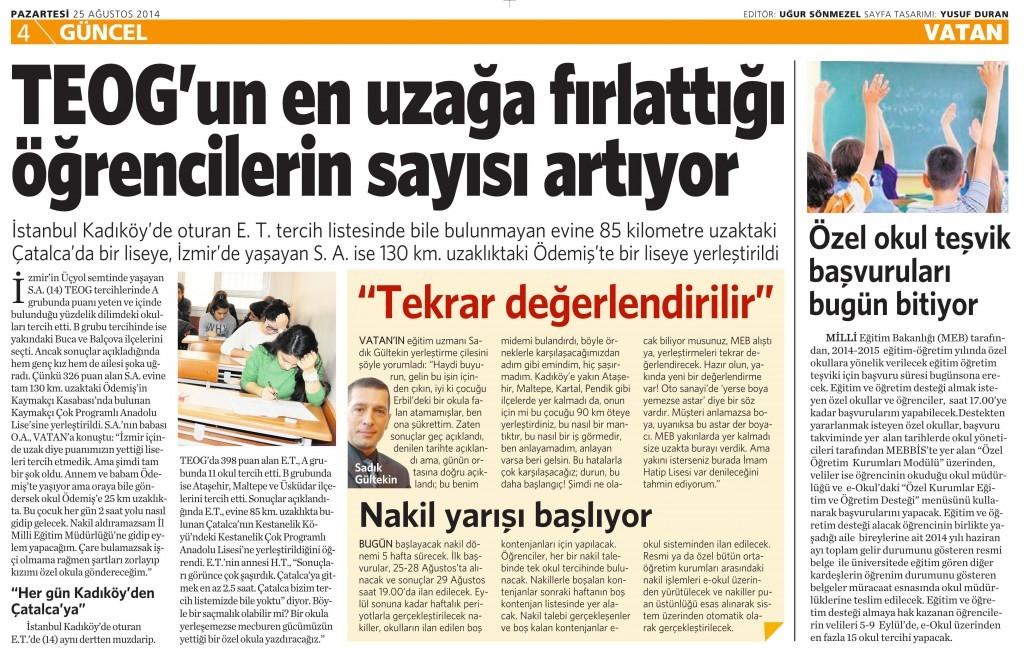 25Ağustos 2014 - Vatan Gazetesi