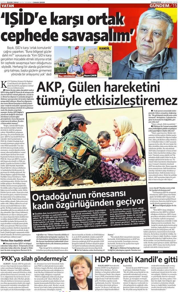 25 Ağustos 2014 - Vatan Gazetesi