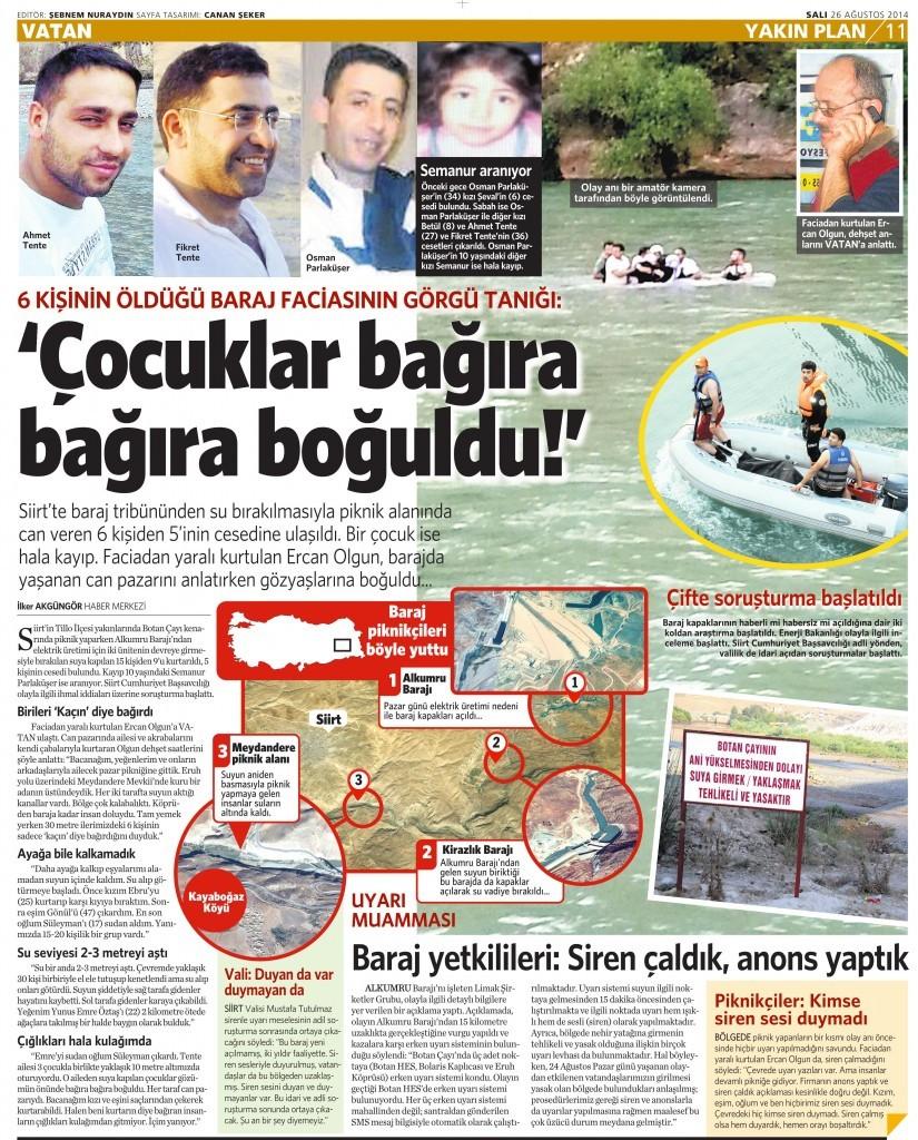 26 Ağustos 2014 - Vatan Gazetesi