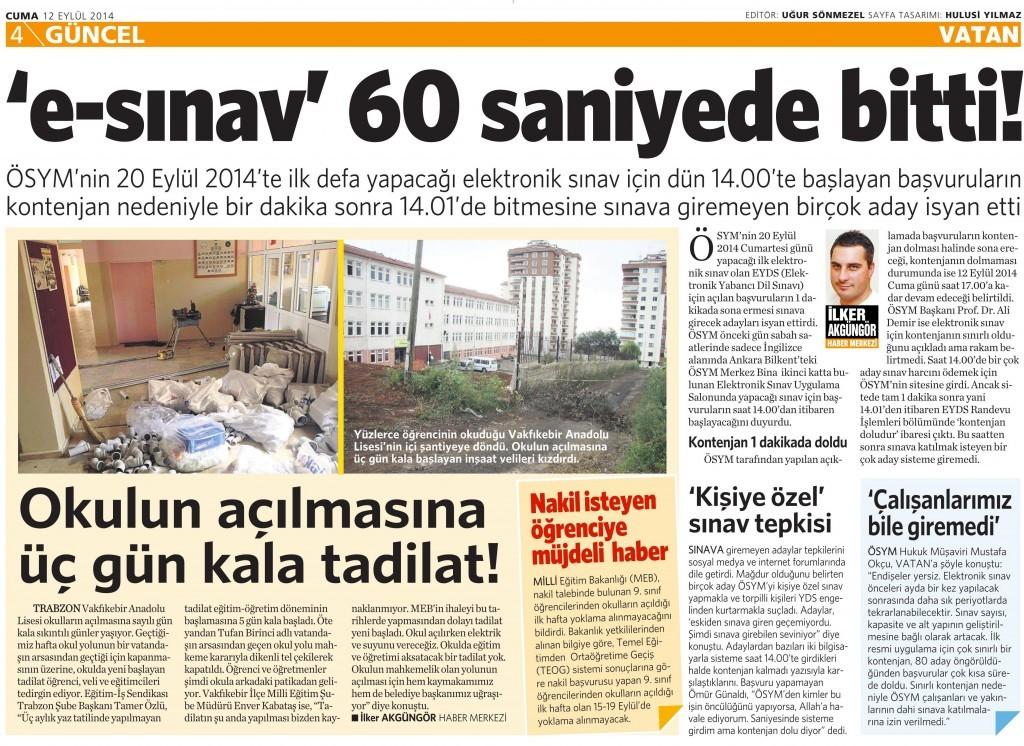 12 Eylül 2014 - Vatan Gazetesi