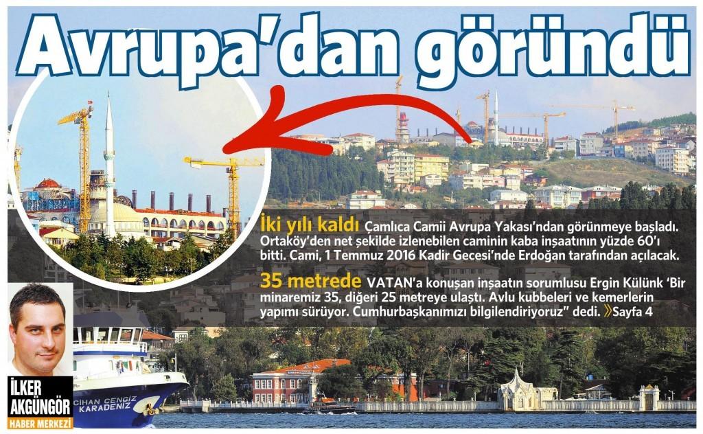 15 Eylül 2014 - Vatan Gazetesi 1. Sayfa