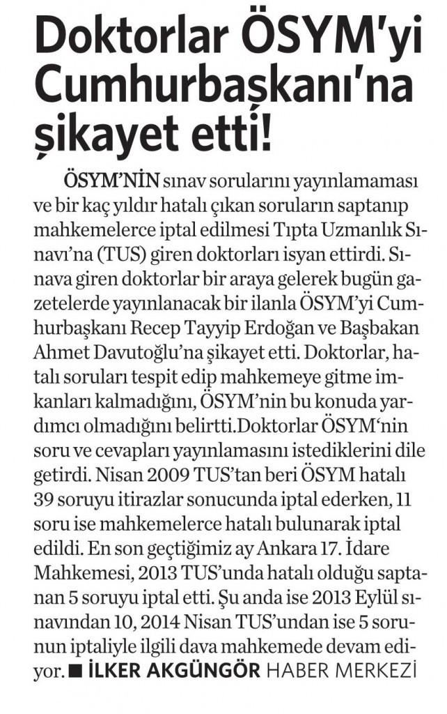16 Eylül 2014 - Vatan Gazetesi
