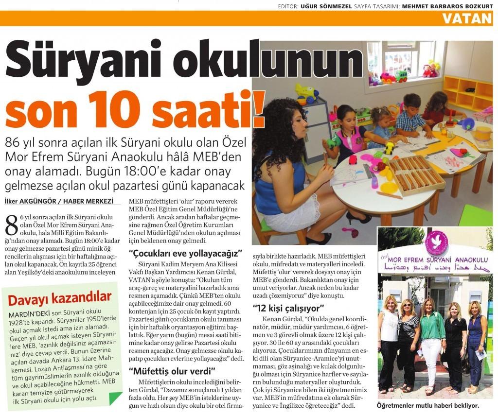 19 Eylül 2014 - Vatan Gazetesi 4. sayfa