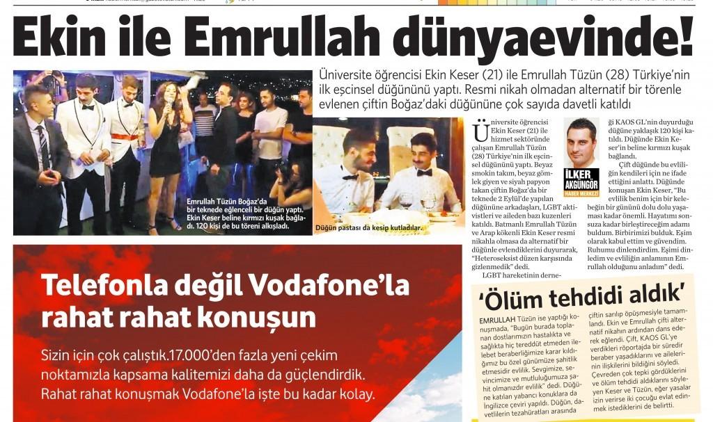 25 Eylül 2014 - Vatan Gazetesi 3. sayfa