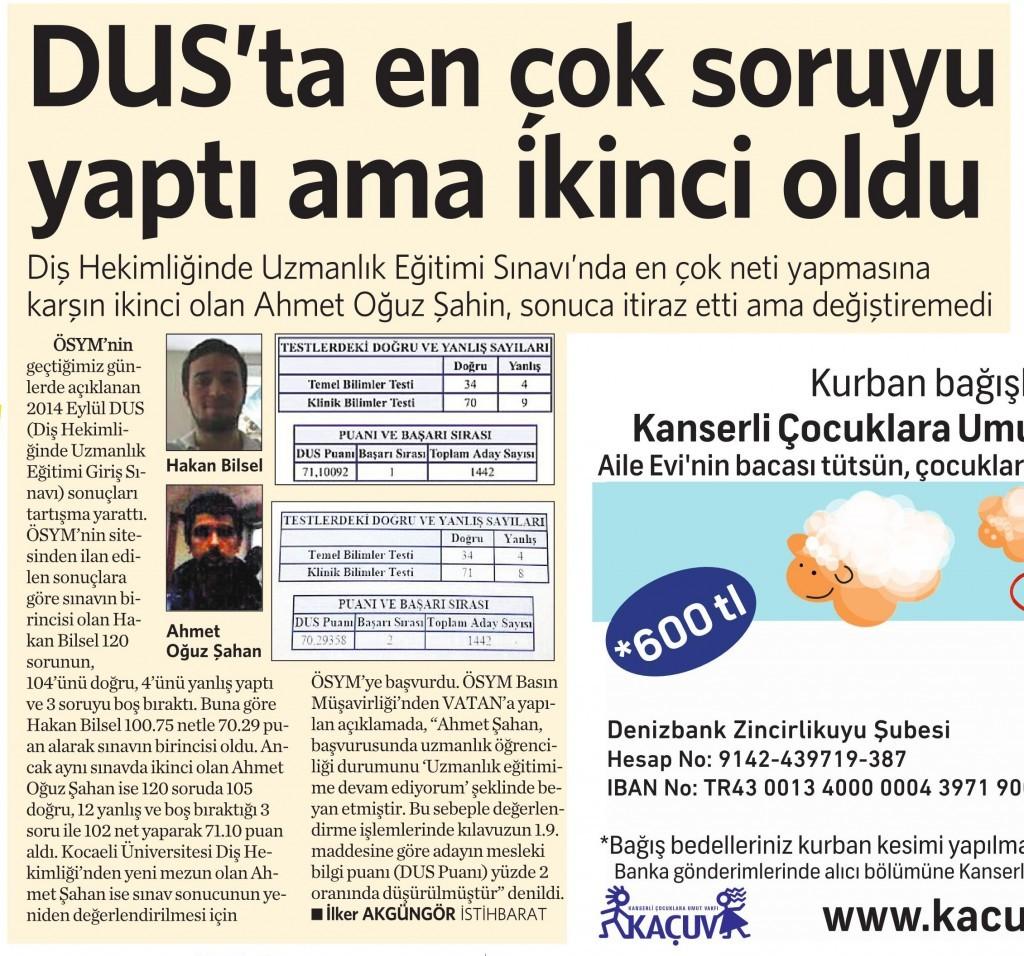 2 Eylül 2014 - Vatan Gazetesi 6. sayfa