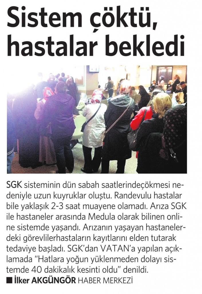 3 Ekim 2014 - Vatan Gazetesi 3. sayfa