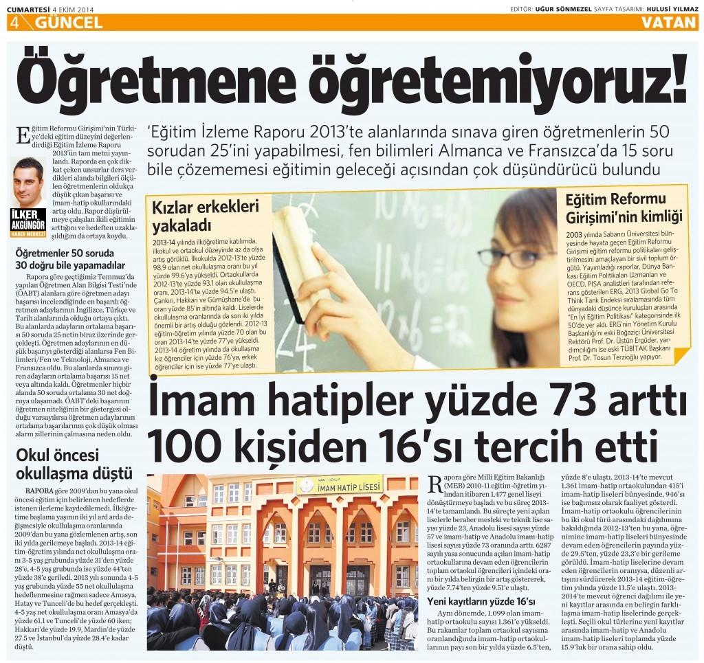 4 Eylül 2014 - Vatan Gazetesi 4. sayfa