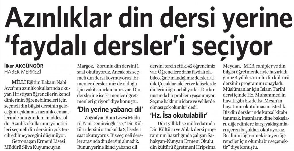 10 Ekim 2014 - Vatan Gazetesi 4. sayfa