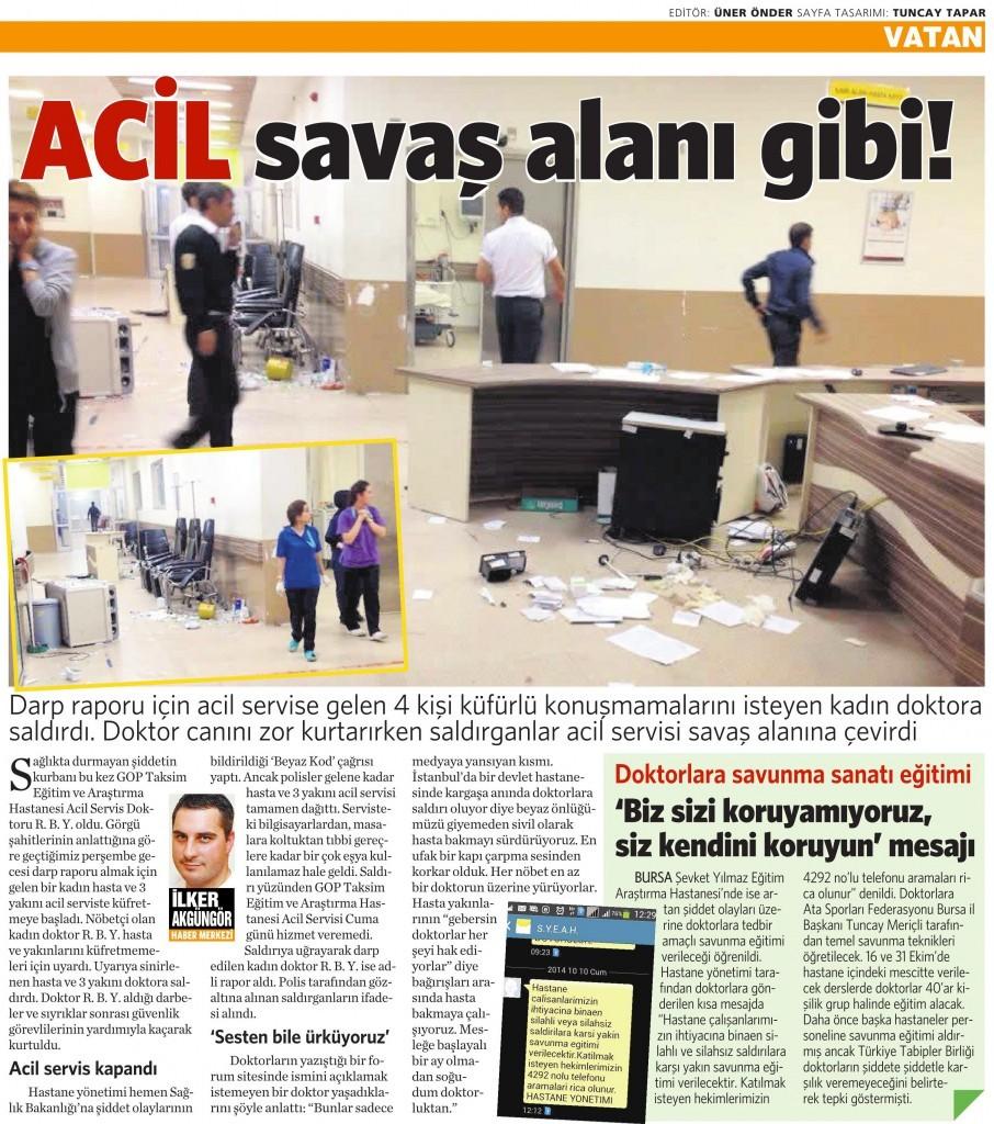 12 Ekim 2014 - Vatan Gazetesi 4. sayfa