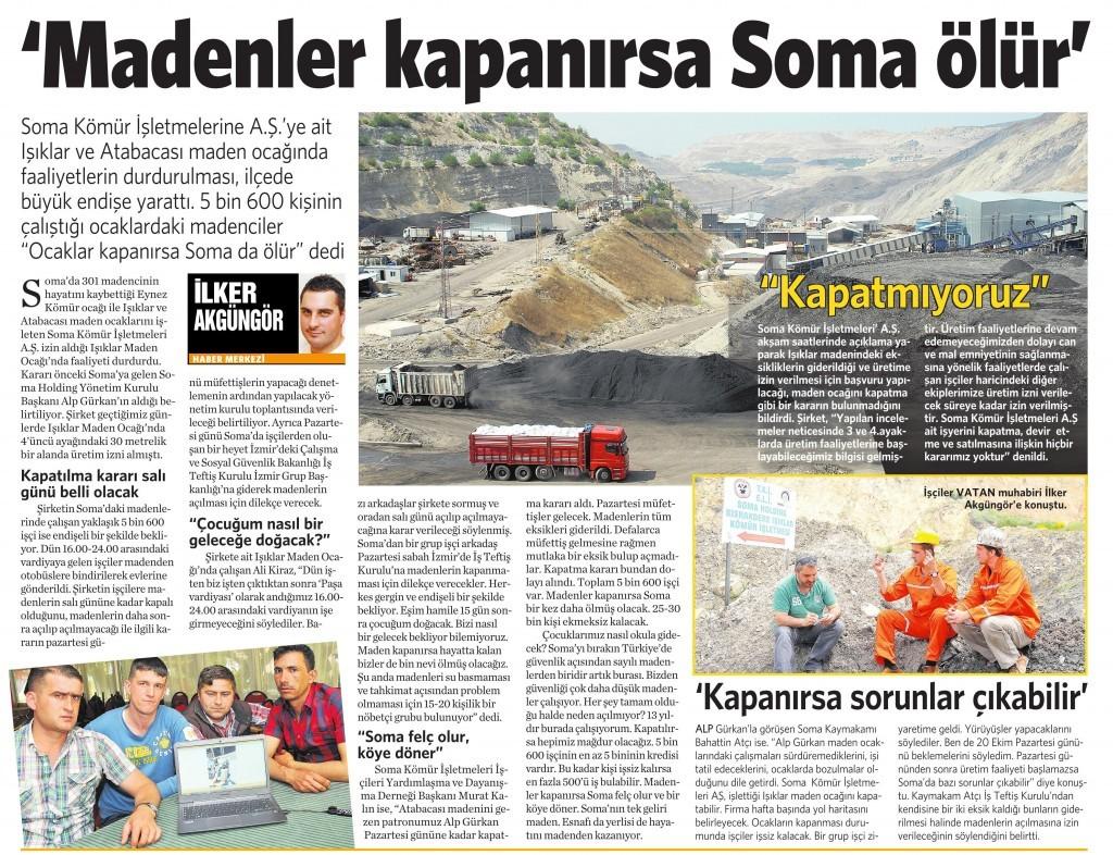12 Ekim 2014 -Vatan Gazetesi 9. sayfa