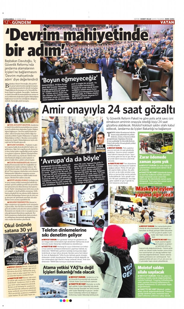 22 Temmuz 2014 Vatan Gazetesi 12. sayfa