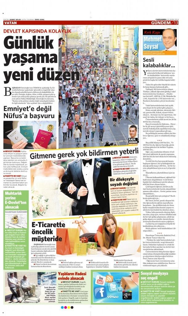 22 Ekim 2014 Vatan Gazetesi 13. sayfa