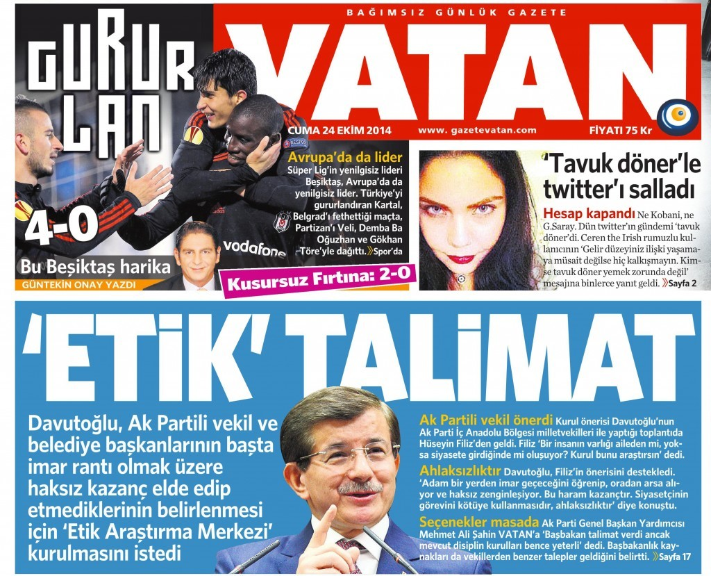 24 Ekim 2014 Vatan Gazetesi 1. sayfa