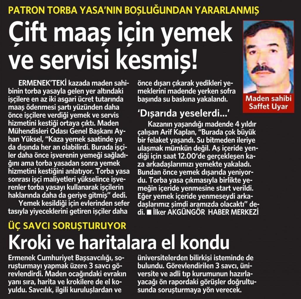 30 Ekim 2014 Vatan Gazetesi 12. sayfa