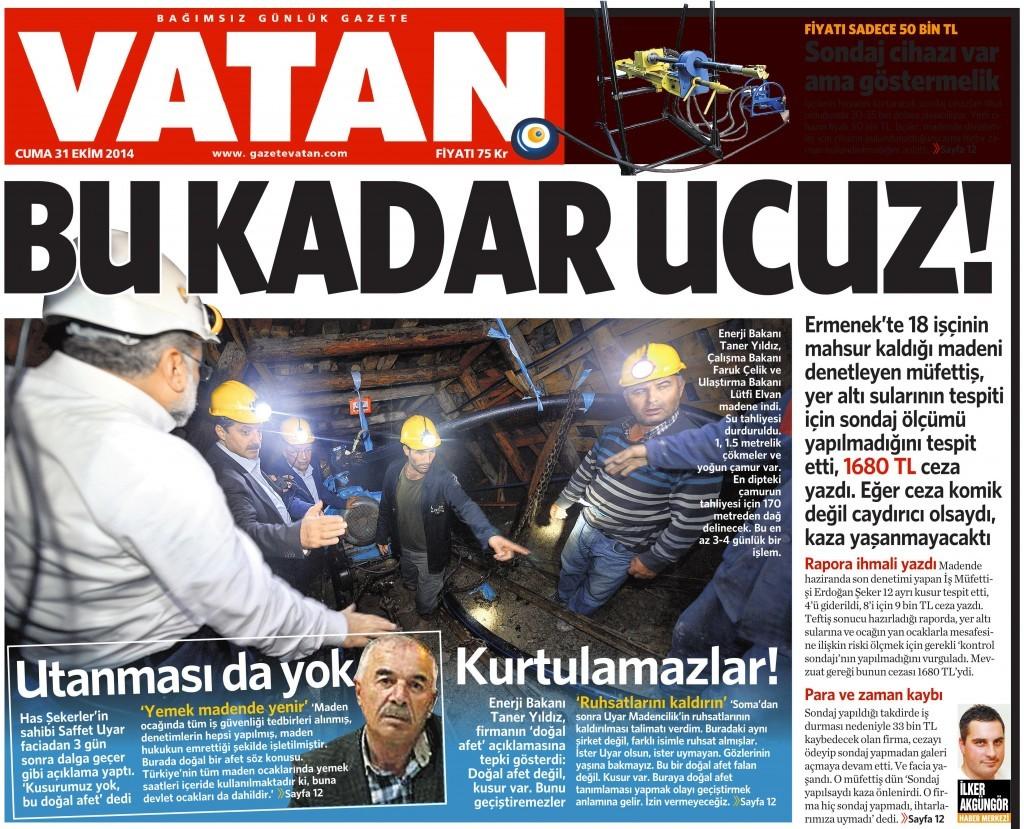 31 Ekim 2014 Vatan Gazetesi 1. sayfa