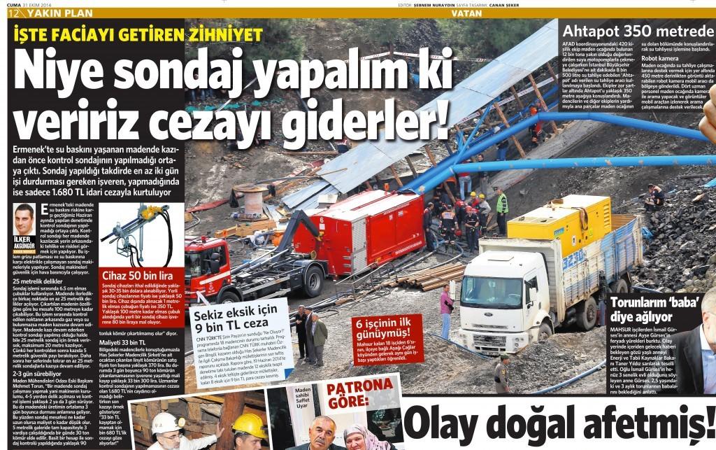 31 Ekim 2014 Vatan Gazetesi 12. sayfa