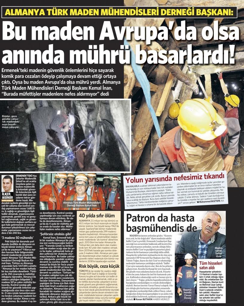 1 Kasım 2014 Vatan Gazetesi 12. sayfa