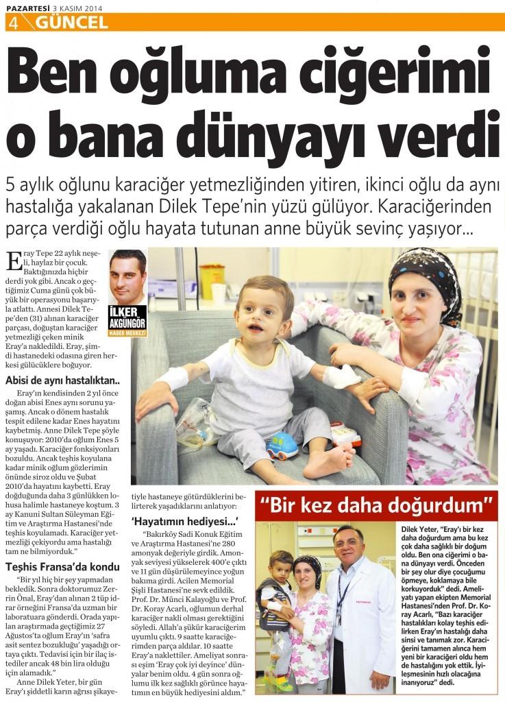 3 Kasım 2014 Vatan Gazetesi 4. sayfa