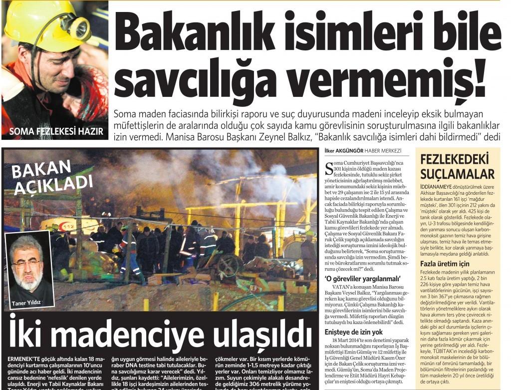 7 Kasım 2014 Vatan Gazetesi 12. sayfa