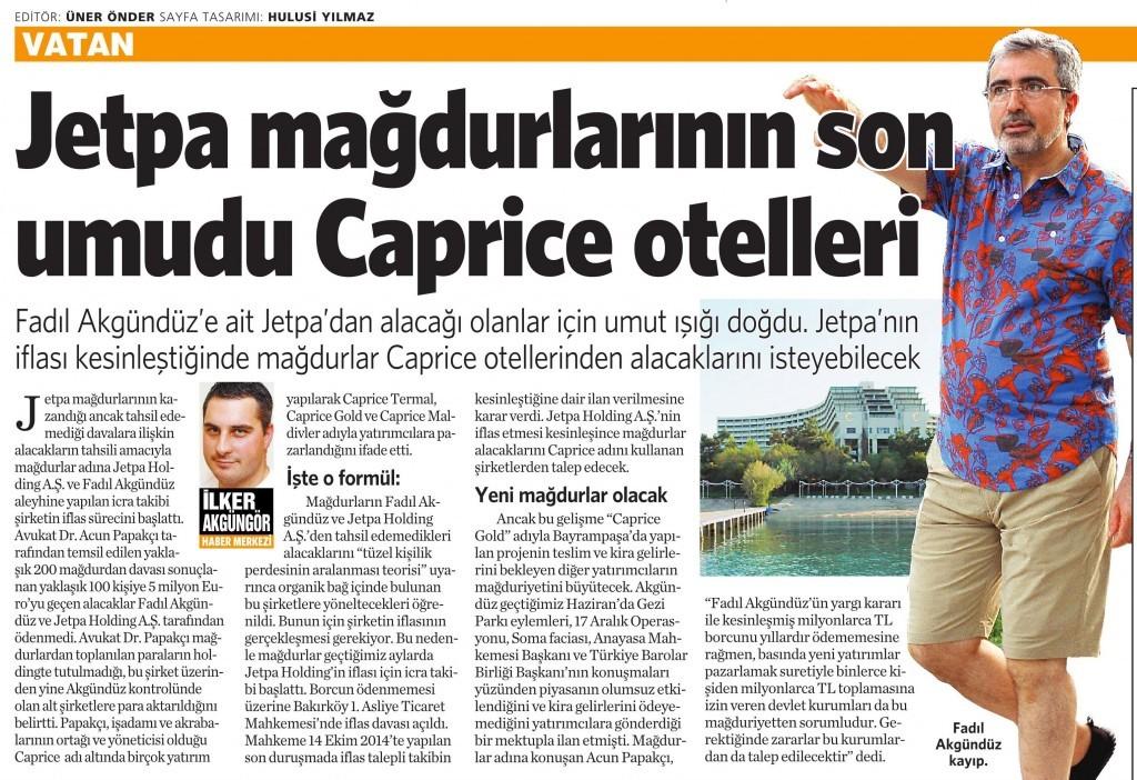 9 Kasım 2014 Vatan Gazetesi 5. sayfa