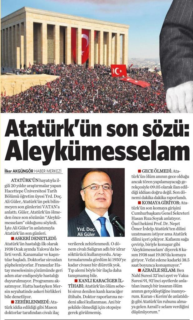 10 Kasım2014 Vatan Gazetesi 16. sayfa