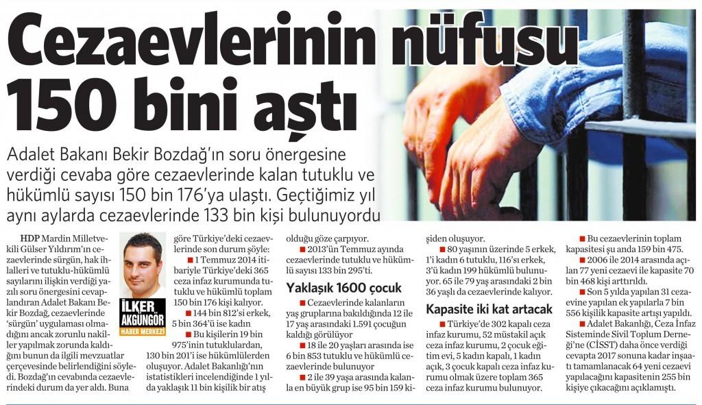 13 Kasım 2014 Vatan Gazetesi 16. sayfa
