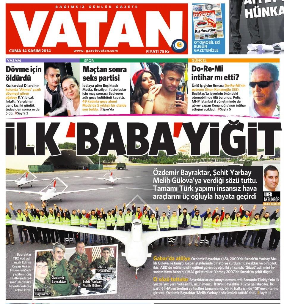 14 Kasım 2014 Vatan Gazetesi 1. sayfa