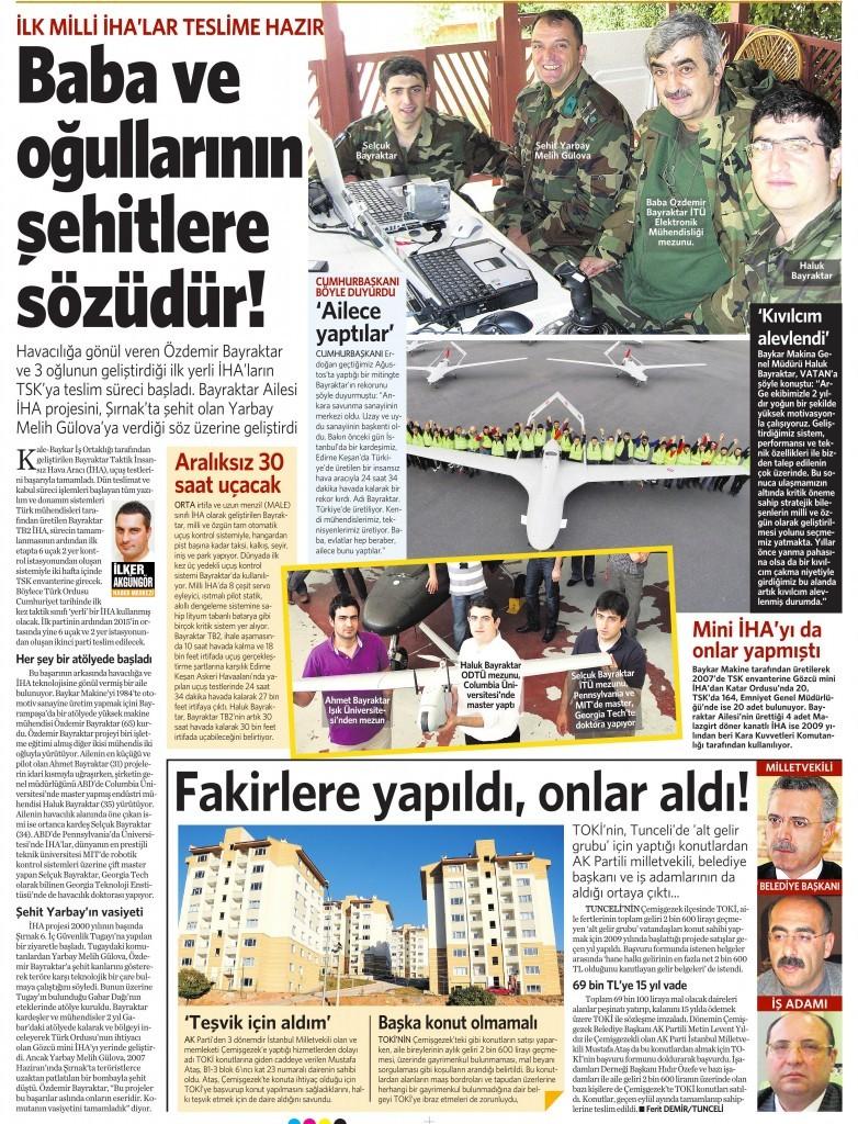 14 Kasım 2014 Vatan Gazetesi 15. sayfa