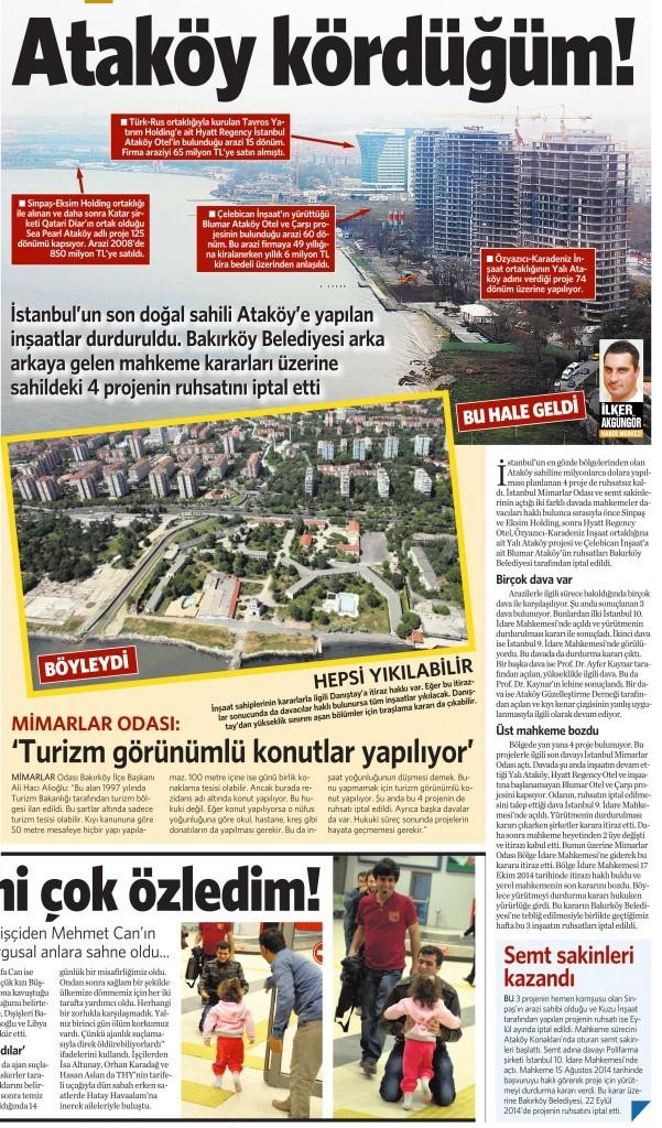 17 Kasım 2014 Vatan Gazetesi 12. sayfa