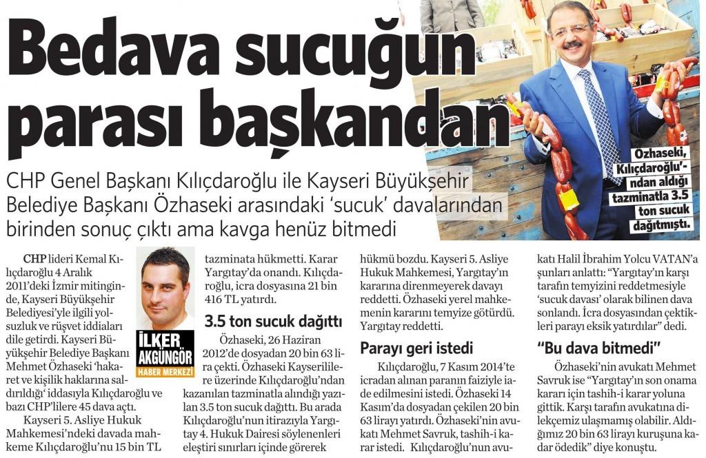 22 Kasım 2014 Vatan Gazetesi 15. sayfa