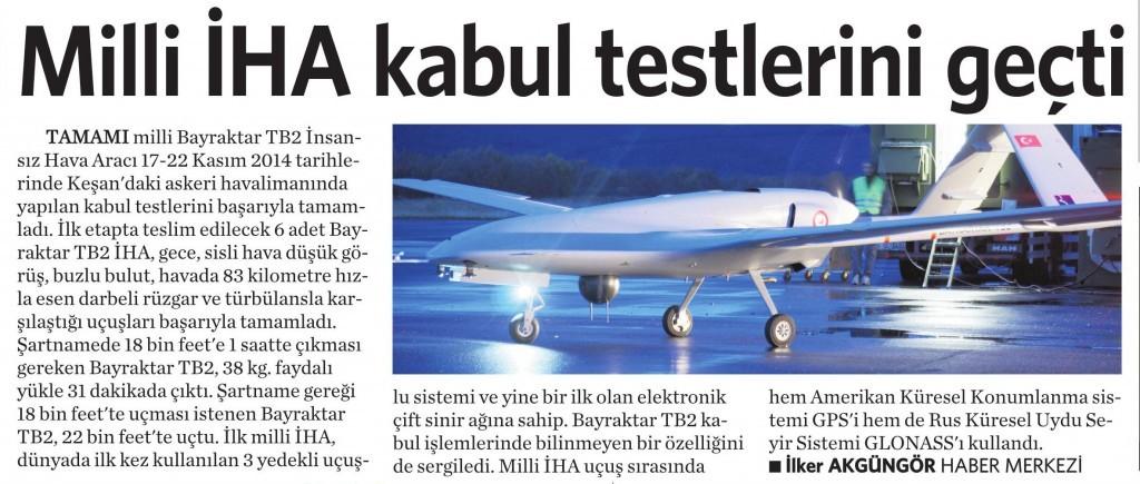 25 Kasım 2014 Vatan Gazetesi 11. sayfa