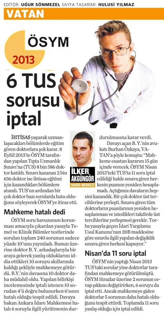 2 Aralık 2014 Vatan Gazetesi 5. sayfa