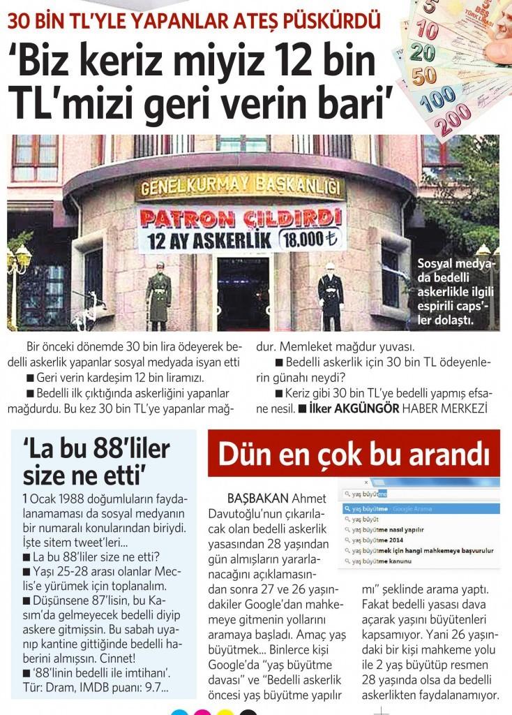 3 Aralık Vatan Gazetesi 13. sayfa