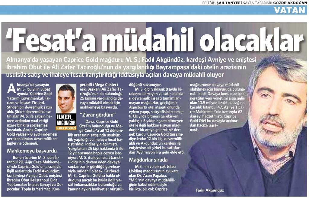 11 Aralık 2014 Vatan Gazetesi 10. sayfa