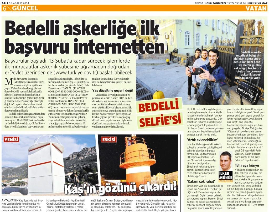 16 Aralık 2014 Vatan Gazetesi 6. sayfa