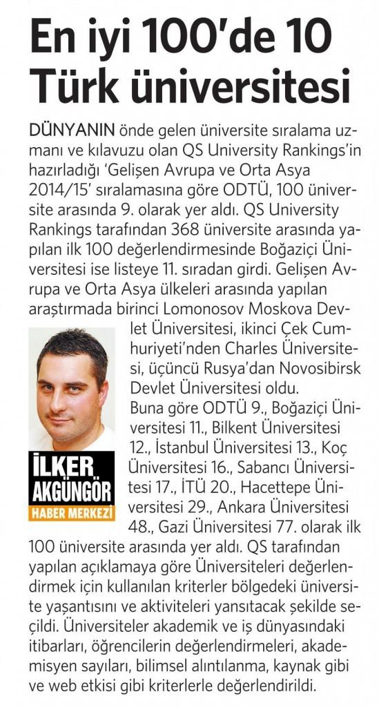 19 Aralık 2014 Vatan Gazetesi 4. sayfa
